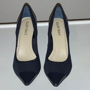 Navy Patent leather & cloth pump-never worn